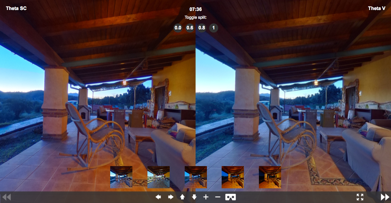 Theta SC y Theta V 360 Comparación de imágenes